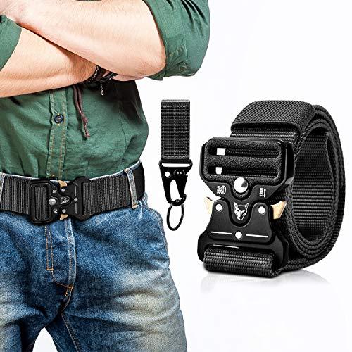 MELLIEX Cinturón Táctico, Correas de Nylon Resistentes Transpirables Ajustable con Hebilla de Aleación de Zinc para Actividades de Entrenamiento(Negro)