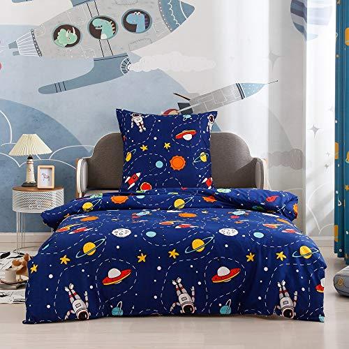 Boqingzhu Bettwäsche Weltraum 135x200cm Kinder Jungen Blau Sterne Astronat Rakete Planeten Weltall Kinderbettwäsche Set Bettbezug und Kissenbezug 80x80cm mit Reißverschluss