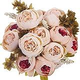 ANWBROAD Lot de 2 Bouquets de pivoines artificielles en Soie réaliste pour Maison, Mariage, Bureau, décoration Florale, Centre de Table, Champagne, Rose Clair