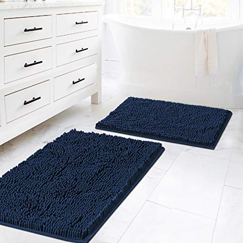 Plush Microfiber Bath Rugs Chenille Floor Mat Ultra Soft Washable Bathroom Dry Fast Water Absorbent Bedroom Area Rugs Kitchen Rugs Non Skid, 20' x 32'/17' x 24', Navy Rug