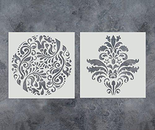 GSS Designs 2Stück Schablonen Set (30,5x 30,5cm) wiederverwendbar Vorlage für Malerei auf Holz, Wänden, Stoff, Airbrush, Möbel, Boden, Fliesen (sl-012)