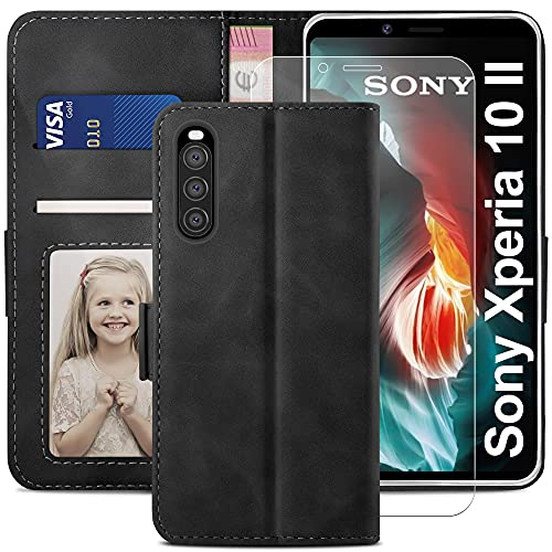 YATWIN Handyhülle Kompatibel mit Sony Xperia 10 II 5G Hülle +1 Stück Panzerglas Schutzfolie, Klapphülle Xperia 10 II 5G Premium Leder Brieftasche Schutzhülle [Kartenfach][Stand] Handytasche, Schwarz
