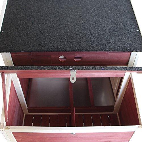 Wiltec XXL Hühnerstall mit Freilauf und erhöhtem Unterschlupf, Fichtenholz, mit Teerdach, 2000x810x1160 mm