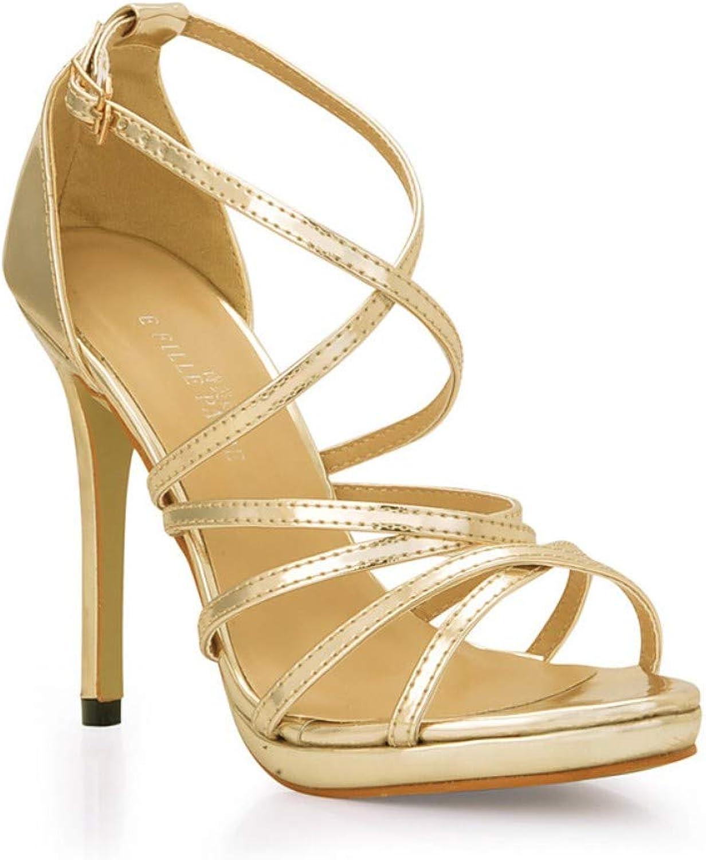 IWlxz Women's Synthetics Spring & Summer Classic Minimalism Sandals Stiletto Heel Open Toe Buckle gold Silver Wedding Party & Evening