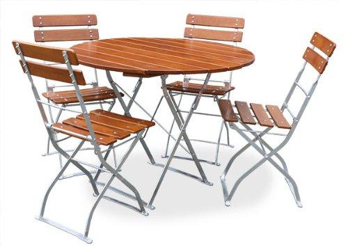 EuroLiving Biergartengarnitur 1x Tisch Ø90 cm & 4X Stuhl Edition-Classic Ocker/verzinkt
