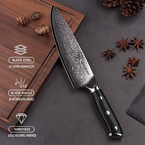 LEVINCHY Damascus Chef Knife 8 inch with Black Premium G10 Handle, Professional Japanese Damascus Stainless Steel Knife, Ergonomic, Razor Sharp, Superb Edge Retention, Stain & Corrosion Resistant