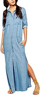 d7f410e788be40 Frauen Jeanskleider Blusenkleid Maxikleid Freizeitkleid lange Kleider jeans  Blau geöffnete Gabel Lose Einfarbig langarm