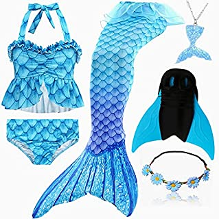 6PCS/Set Rainbow Style Mermaid Tail Swimsuit With Fin For Kids Girls Holiday Dress Costume Bathing Swimuit (Color : Army G...