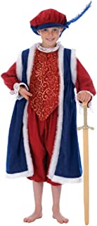 Boys Childs Kids King Henry VIII 8th Book Day Tudor Christmas Nativity Fancy Dress Costume Outfit (6-8 Years (128cms)) Blue