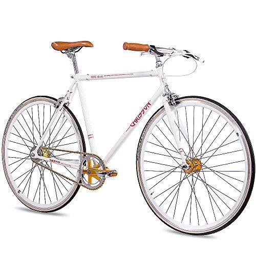 CHRISSON 28 Zoll Herren Vintage Rennrad - FGS CrMo Gent Weiss 55 cm - Old School Herrenfahrrad mit 2 Gang Kick Shift Schaltung von Sturmey Archer, Retro Cityfahrrad für Männer mit Rücktrittschaltung