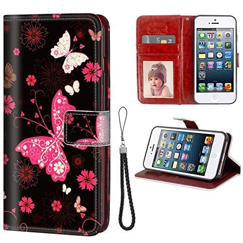 FAUNOW Funda tipo cartera para iPhone 5/5S/SE con tarjetero y tarjetero de piel sintética con diseño de mariposas.