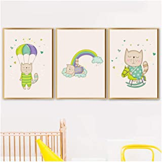 Wadyx 3 Pieces Cartoon Cat Parachute Rainbow Rocking Horse Wall Art Canvas Painting Posters and Print Wall Pictures for Kids Room Decor 50X70Cmx3 No Frame