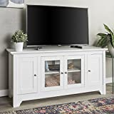 Walker Edison Furniture Company Wood Universal Stand with Storage Cabinets for TV's up to 58' Flat Screen Living Room Entertainment Center, White