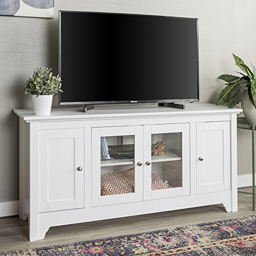 Walker Edison Wood Universal Stand with Storage Cabinets for TV's up to 58' Flat Screen Living Room Entertainment Center, 52 Inch, White