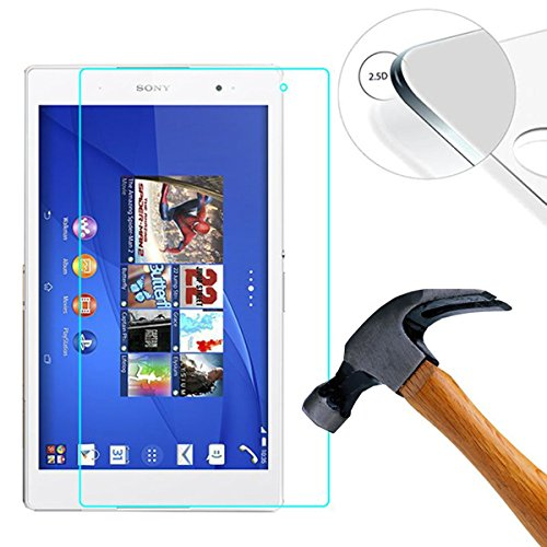 Lusee 2 Pack Screen Protector for Sony Xperia Z3 Tablet / Z3 Tablet Compact 8.0'' Tablet Tempered Glass [9H Hardness] [HD Clear] [Case friendly] Anti Scratch/Anti Fingerprint 2.5D Screen Protector