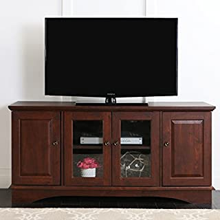 Walker Edison Wood Universal Stand with Storage Cabinets for TV's up to 65
