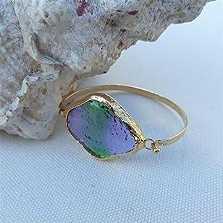 Progettato appositamente, Ottone placcato oro, Bracciale in vetro pastello verde-viola