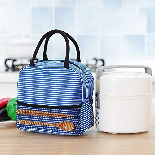 Diaper Portable Stripe Lunch Bag Thermal Canvas Food Container Tote Handbag Lunch Bags