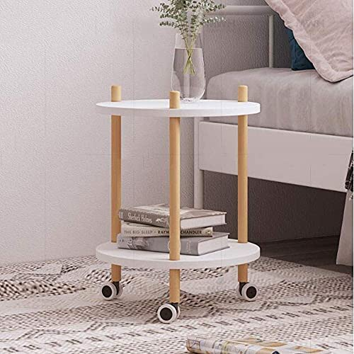 PAKUES-QO Side Tables Sofa Side Table with Wheels, 2 Tier Wood Tray End Table Living Room Bedroom, Nightstand Utility Rolling Cart, End Table (Color : Yellow)