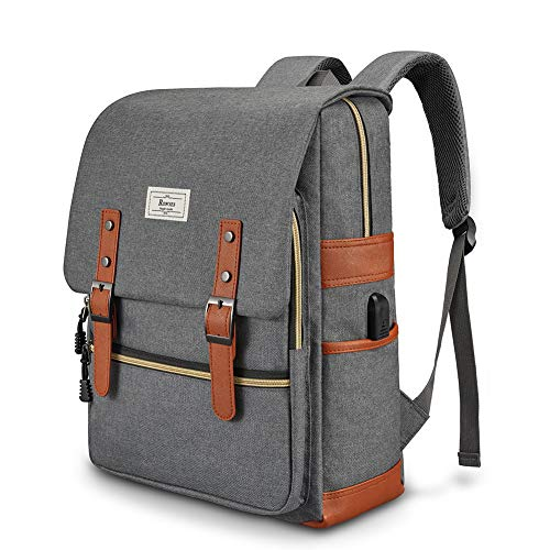 College Bag Fits up to 15.6'' Laptop Casual Rucksack Waterproof School Backpack Daypacks with USB Unisex(Grey)