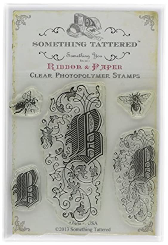 Something Tattered Clear Stamps, 4 by 4-Inch, Monogram Initial B