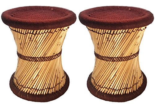 Natural Geo Moray Decorative Handwoven Jute Accent Stool (2, Brown)