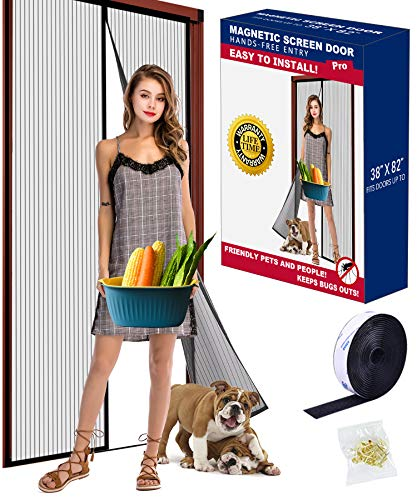"""2021 Upgraded Version Magnetic Screen Door Fits Door Size up to 38""""x82"""" Max, Easy Install with Full Frame Hook&Loop, Screen Doors with Magnets Keeps Mosquitoes Out, Pet & Kid Friendly."""