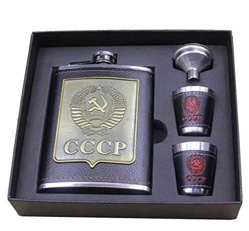 Flachmann-Set für Weinflasche aus Edelstahl, für russische hochwertige Weinflasche