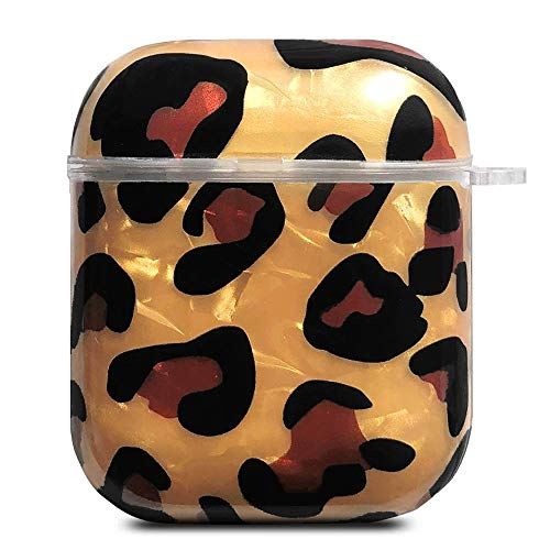 J.west 2019 Newest AirPods Case, Classic Sparkle Glitter Leopard Print Pretty Design Bling AirPods Soft TPU Protective Case Accessories Kit Compatiable with Apple AirPods 1st/2nd Charging Case