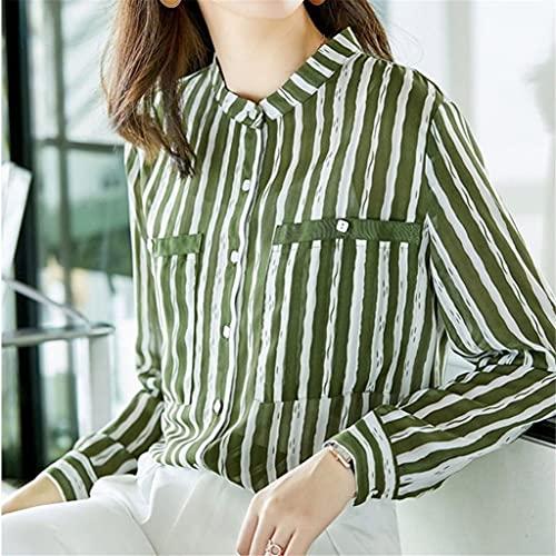 JJZSL Primavera para Mujer Estilo De Otoño Camisetas De Gasa De Manga Larga para Mujer Blusas De Rayas De Color Verde Botón Tops De Cuello De Giro (Color : Green, Size : M Code)