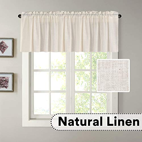 """H.VERSAILTEX Natural Linen Curtain Valances for Kitchen Window/Living Room/Bathroom Privacy Added Rod Pocket Home Decoration Small Curtain, 52"""" W x 18"""" L, Natural, 1 Panel"""
