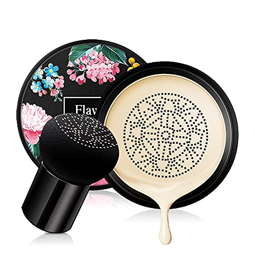 Freeor Mushroom Head Air Cushion Foundation, Concealer Nude Make-up Feuchtigkeitsspendende Aufhellung CC Flüssige Grundierung, Gleichmäßige Hautfarbe...