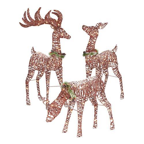 Top Treasures Christmas Reindeer Family 3 Piece Set | Pre-lit Rattan Holiday Deer Includes 52' Buck, 44' Doe 28' Fawn | Lighted Reindeer Christmas Décor Indoor Outdoor | Yard Art Holiday Reindeer