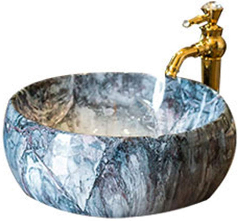 Badezimmer Rundes Retro Waschbecken Waschbecken Keramikbehlter Hotel Spritzwassergeschützt Waschbecken
