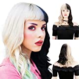 BECUS Two Tone Black/Blonde Wig with Bangs 16 inches Heat Resistant Synthetic Shoulder Length Curly Wigs for Women(Free Wig Cap)