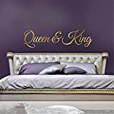 gtrsa Queen and King Decor His and Hers Bedroom Wedding Gift for Couple Headboard Decal