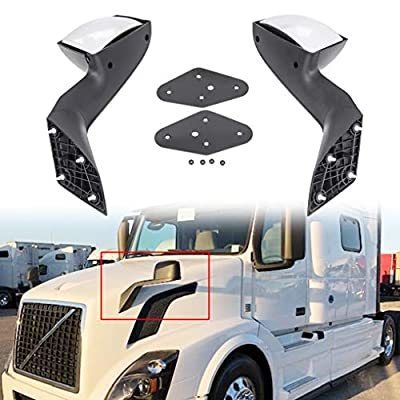 ECOTRIC Pair Chrome Truck Hood Mirrors for 2004-2016 Volvo VNL 2004 Volvo VN Set Mounting Plates Tow Mirrors