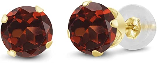 Gem Stone King 14K Yellow Gold Red Garnet Women's Stud Earrings 2.00 Cttw Gemstone Birthstone Round 6MM