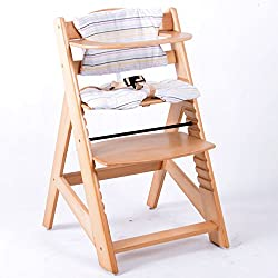 TIGGO Hochstuhl Treppenhochstuhl Babyhochstuhl Kinderhochstuhl Kindertreppenhochstuhl Babystuhl NATUR HC2533-D01 Creme