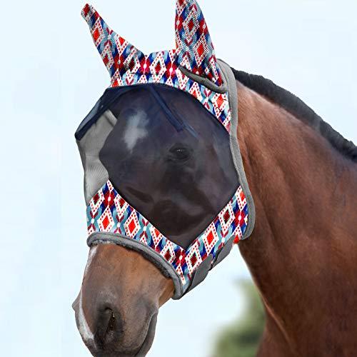 Harrison Howard CareMaster Máscara de mosca de caballo Estándar con orejas Protección UV para caballo-Rombo tribal (M)