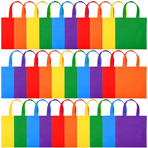 Elcoho 30 Pack Non-Woven Tote Bags Reusable Gift Bags Multicolor Party Bags Treat Bags with Handles, 6 Colors 10 by 10 Inches