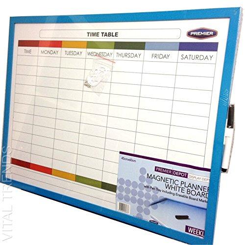 Magnetic Weekly Planner Organiser Memo Notice Board Time Table Erasable Marker Vital Trends ©