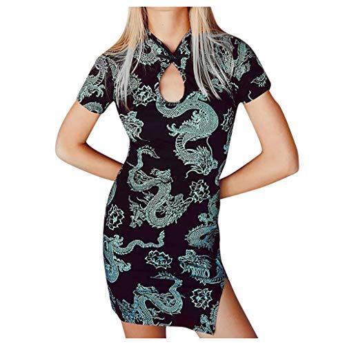 Dasongff Frauen Stickerei Dragon Minikleid Cheongsam Sexy Street Collar Kleid Vintage Bodycon Kleid mit Seiten Schlitz
