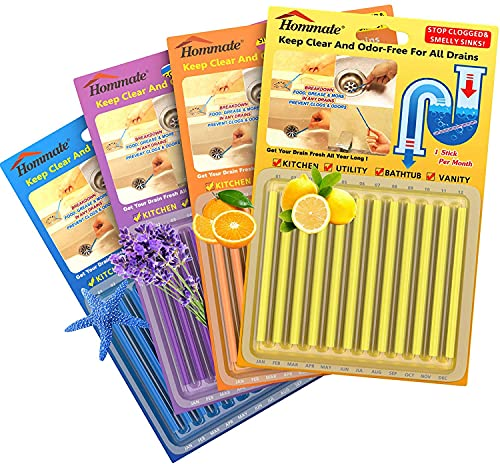 Drain Sticks Drain Cleaner Sticks Drain Deodorizer Sticks for Preventing Clogs Eliminating Smelly Odor Kitchen Bathroom Sink Septic Tank Safe As Seen