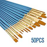 50 Pinselset Malen Schule Künstlerpinsel Set Premium Nylon Pinsel für Aquarell Acryl Ölgemälde Professional Painting Kits