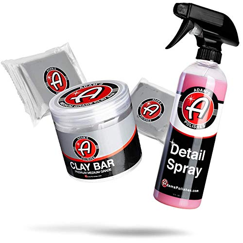 Adam's Medium Grade Clay Bar Kit (Combo) - Premium Car Detailing Clay Fallout Remover of Contamination, Water Spot & Grime | Use with Detail Spray Car Wash Kit Car Wax Buffer Polisher Ceramic Coating