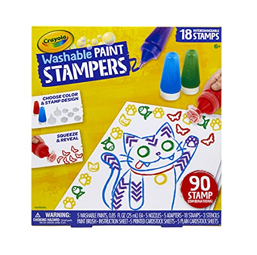Crayola Washable Paint Stampers, Kids Paint Set, Gift for Boys & Girls, Ages 6, 7, 8, 9