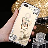 MRSTER Funda Compatible con iPhone 6 Plus, Brillante Brillo Espejo Funda Suave Silicona TPU Case con Soporte Giratorio de 360 Grados para Apple iPhone 6 Plus / 6S Plus. ZS Bear Gold