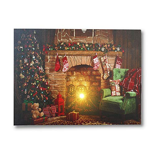 "NIKKY HOME 16"" x 12"" Holiday LED Lighted Canvas Wall Art Prints Picture with Christmas Tree Brick Fireplace Stockings, Multicolor"