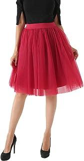Lau's Falda de Tutu Mujer por la Rodilla 7 Capas Falda Tul Princesa Enagua Tul Ballet para Bodas y Fiesta